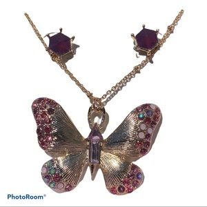 Betsey Johnson Butterfly Necklace And Earring Set